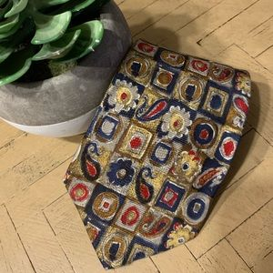 Altea for Nordstrom Tan Red Blue Yellow Men's Tie